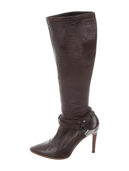 Celine Leather Knee-High Boots Brown