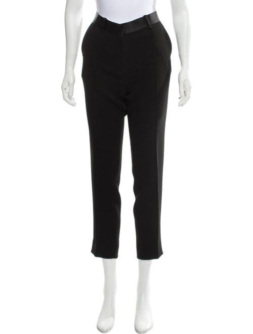 Céline Satin-Accented Mid-Rise Pants Black