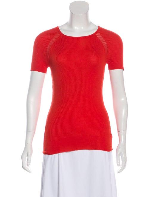 Celine Short Sleeve Knit Sweater Red
