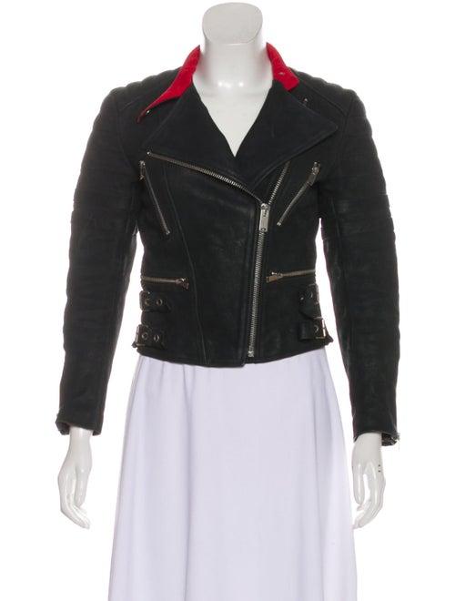 Celine Leather Zip-Up Jacket Black