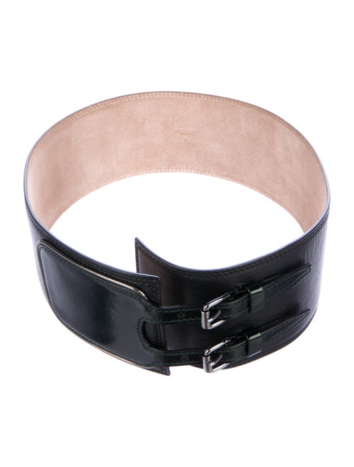 Celine Leather Wide Waist Belt Black