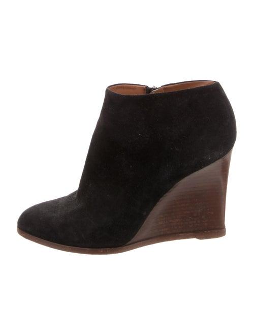 Celine Suede Pointed-Toe Wedge Booties Black
