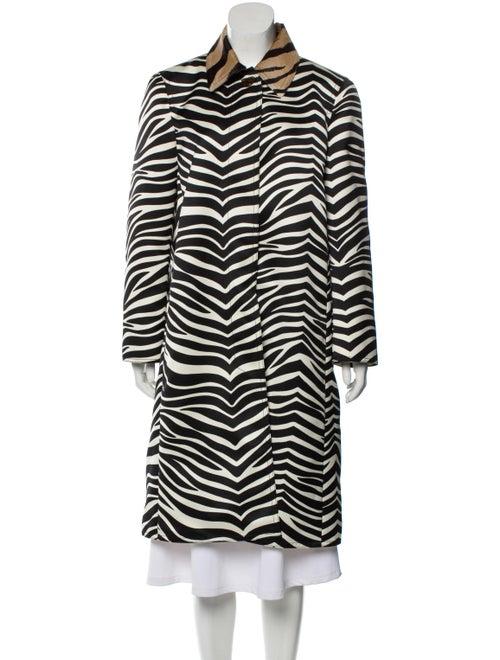 Celine Ponyhair-Trimmed Zebra Print Coat multicolo