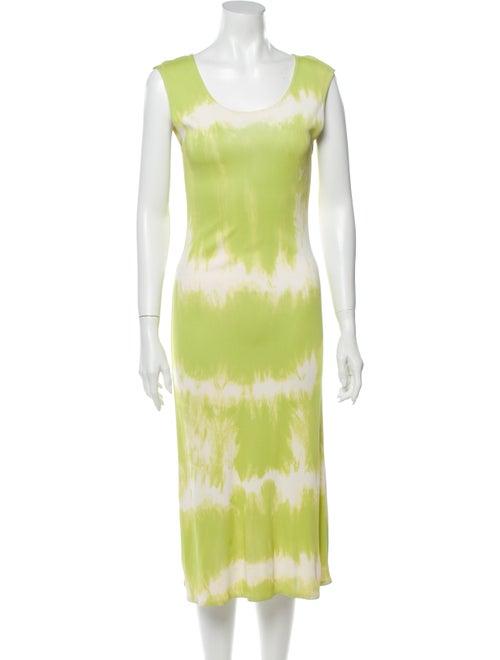 Celine Tie-Dye Print Midi Length Dress Green