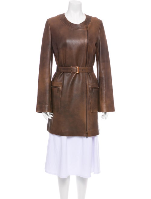 Celine Leather Trench Coat Brown