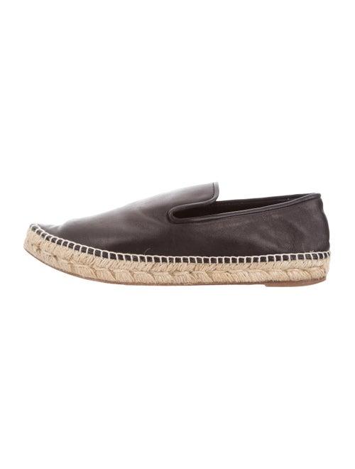 Celine Leather Pointed-Toe Espadrilles Black
