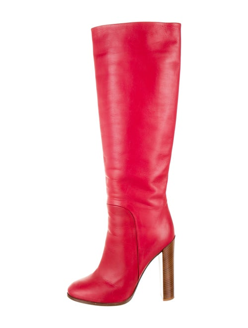 Celine Leather Knee-High Boots Red