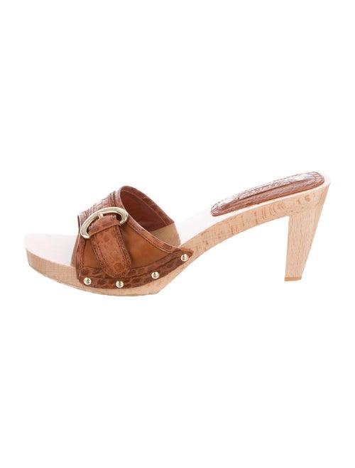 Celine Leather Slides Brown