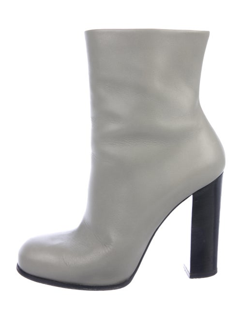 Celine Leather Ankle Boots Grey