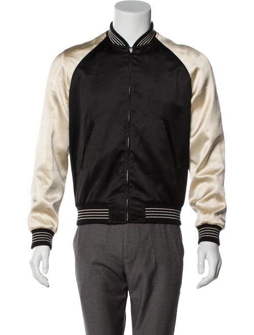 Celine Satin Souvenir Bomber Jacket black