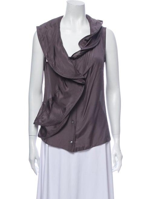Celine Silk Cowl Neck Blouse Grey