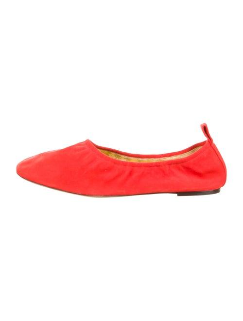 Celine Suede Ballet Flats Red