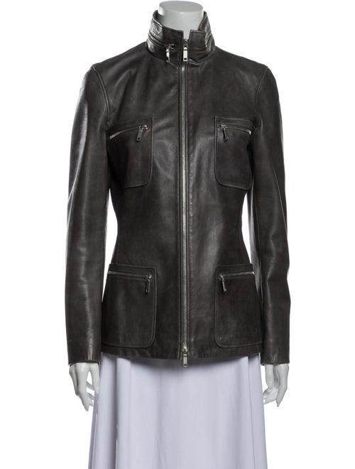 Celine Lamb Leather Biker Jacket Grey