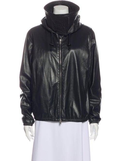 Celine Lamb Leather Bomber Jacket Black