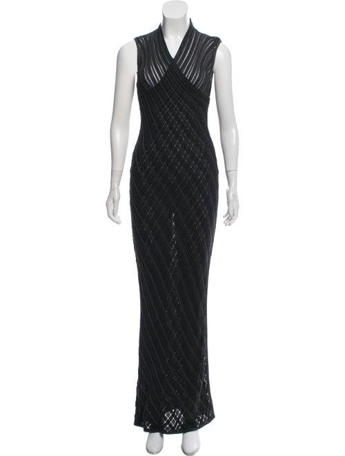 Celine Vintage Open Knit Maxi Dress Metallic