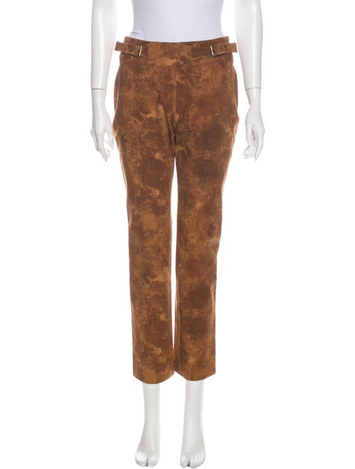 Celine Printed Straight Leg Pants Brown