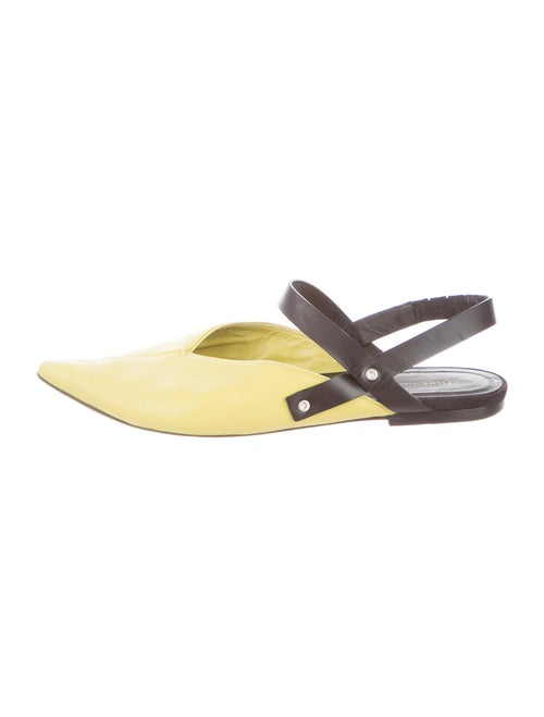 Celine Leather Slingback Flats Yellow