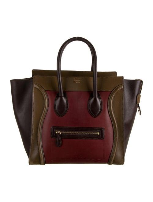 Celine Tricolor Mini Luggage Tote Red