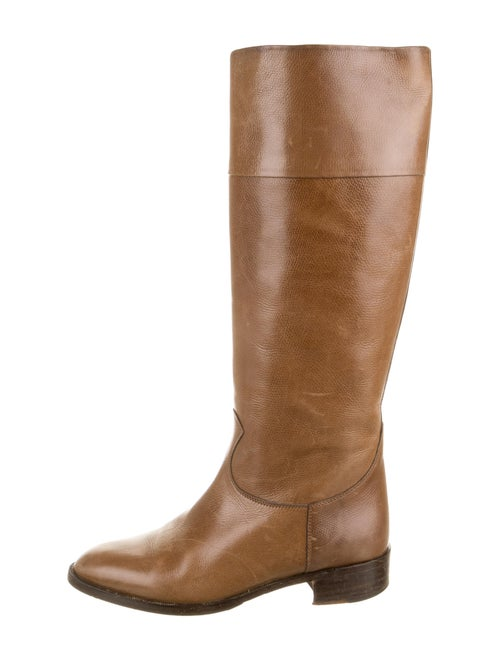 Celine Leather Riding Boots Brown