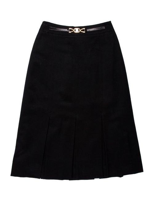 Celine Pleated Accents Knee-Length Skirt Black