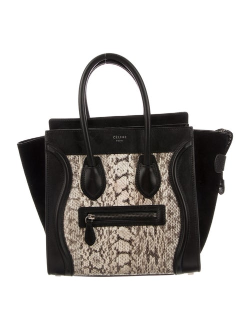 Celine Python Micro Luggage Tote Black