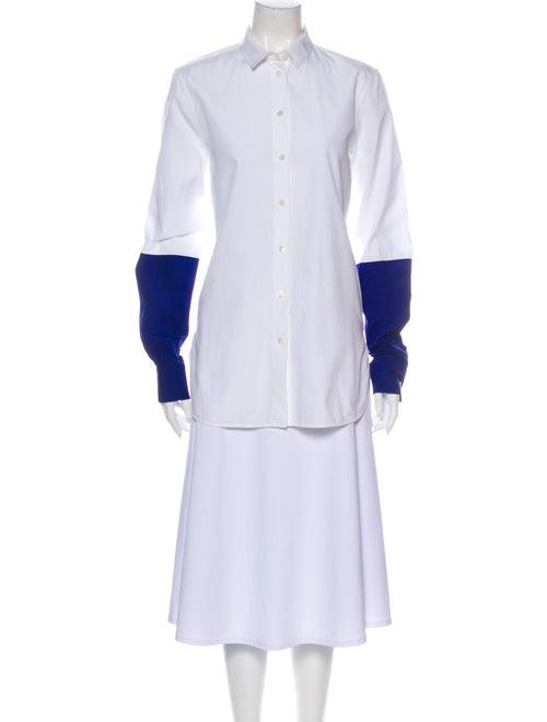 Celine Colorblock Pattern Long Sleeve Tunic White