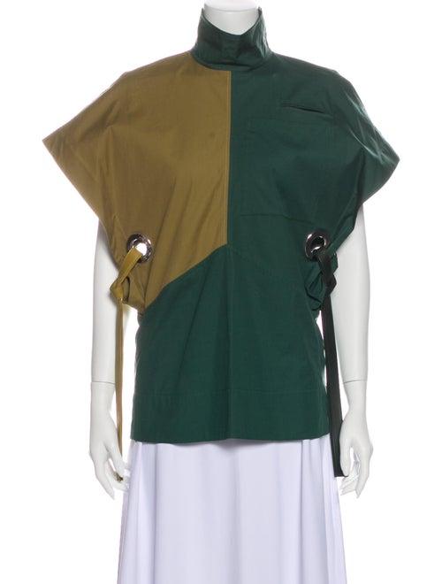Celine Mock Neck Short Sleeve Blouse Green