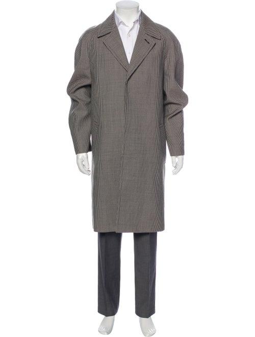 Celine Wool Houndstooth Print Overcoat Wool