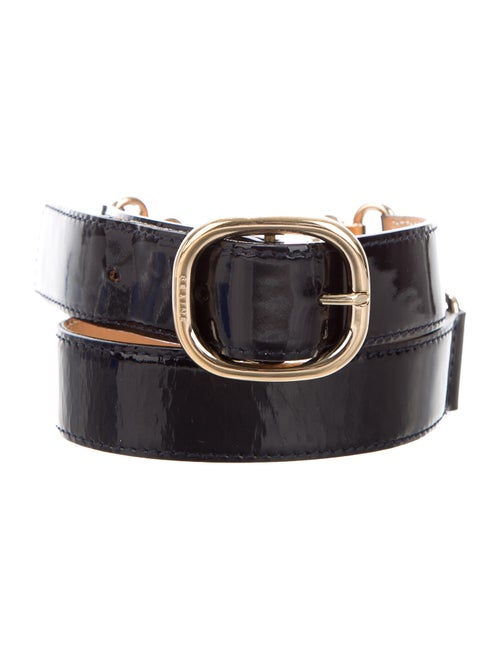 Celine Patent Leather Buckle Belt Navy