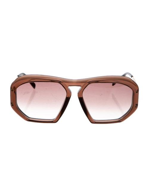 Celine Acetate Aviator Sunglasses Brown