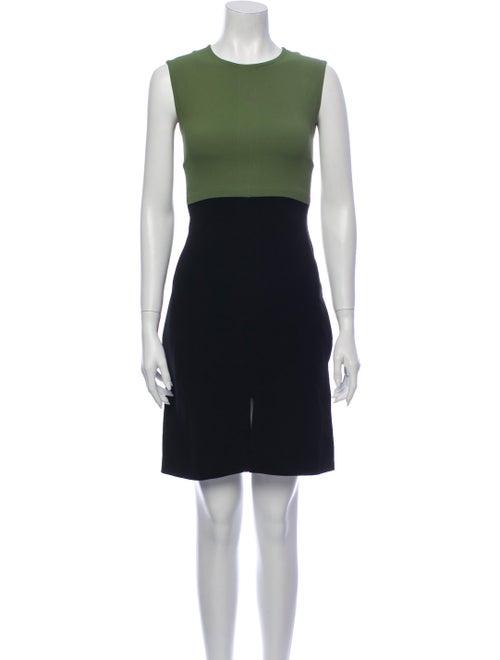 Celine Colorblock Pattern Mini Dress Green
