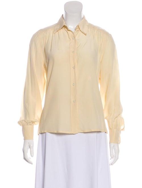 Celine Silk Collar Button-Up Top