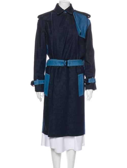 Celine Colorblock Pattern Trench Coat Blue