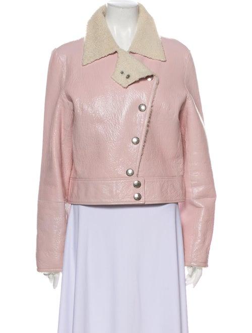 Celine Lamb Leather Biker Jacket Pink