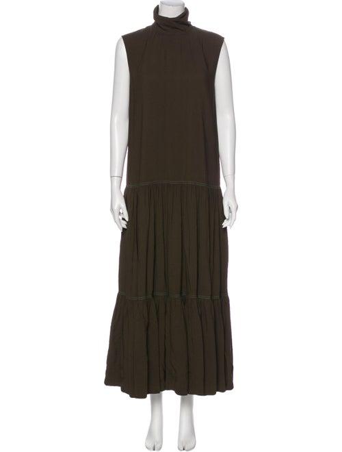 Celine Turtleneck Long Dress Green