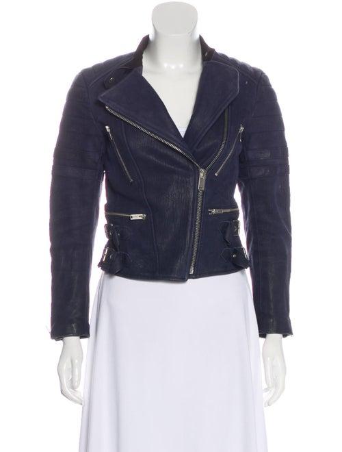 Celine Long Sleeve Leather Jacket Navy