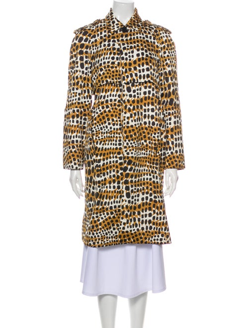 Celine Printed Trench Coat Brown