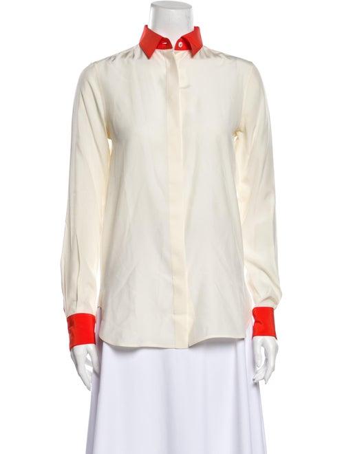 Celine Silk Long Sleeve Button-Up Top