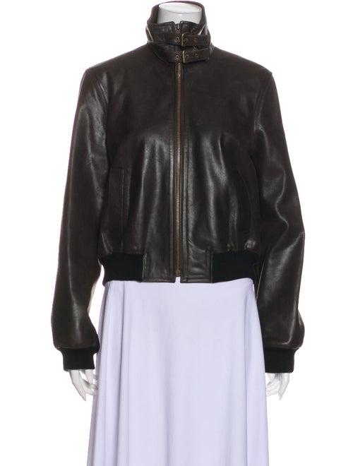 Celine Goat Leather Bomber Jacket Brown
