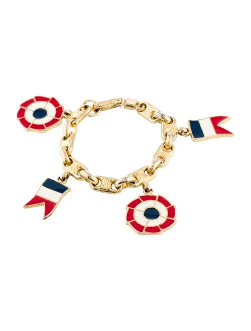 Celine Vintage Enamel Blazon Chaine Charm Bracelet