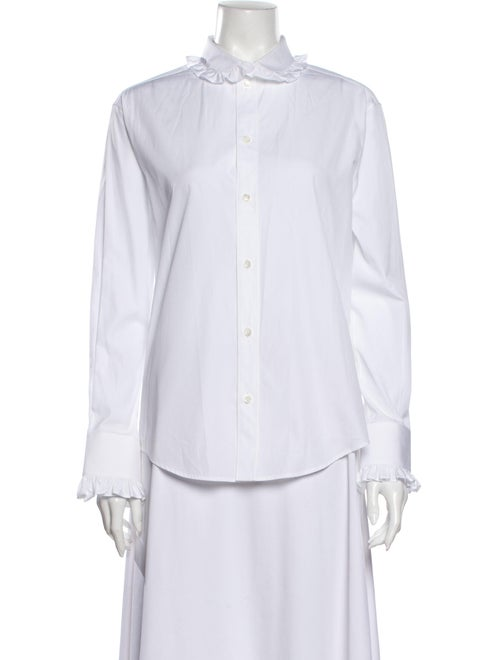 Celine Long Sleeve Button-Up Top White