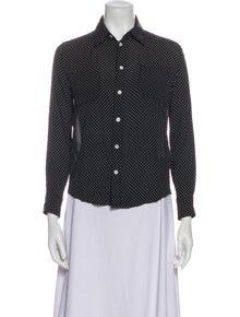 Celine Polka Dot Print Three-Quarter Sleeve Button-Up Top