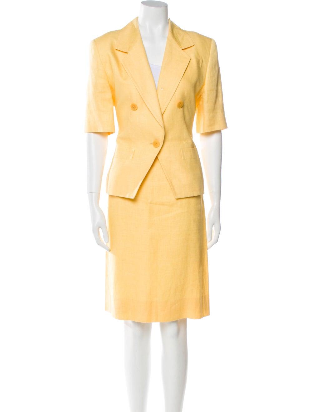 Celine Vintage Linen Skirt Suit Yellow - image 1