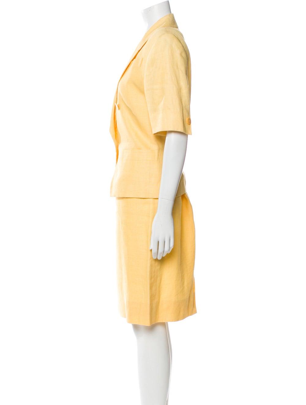 Celine Vintage Linen Skirt Suit Yellow - image 2