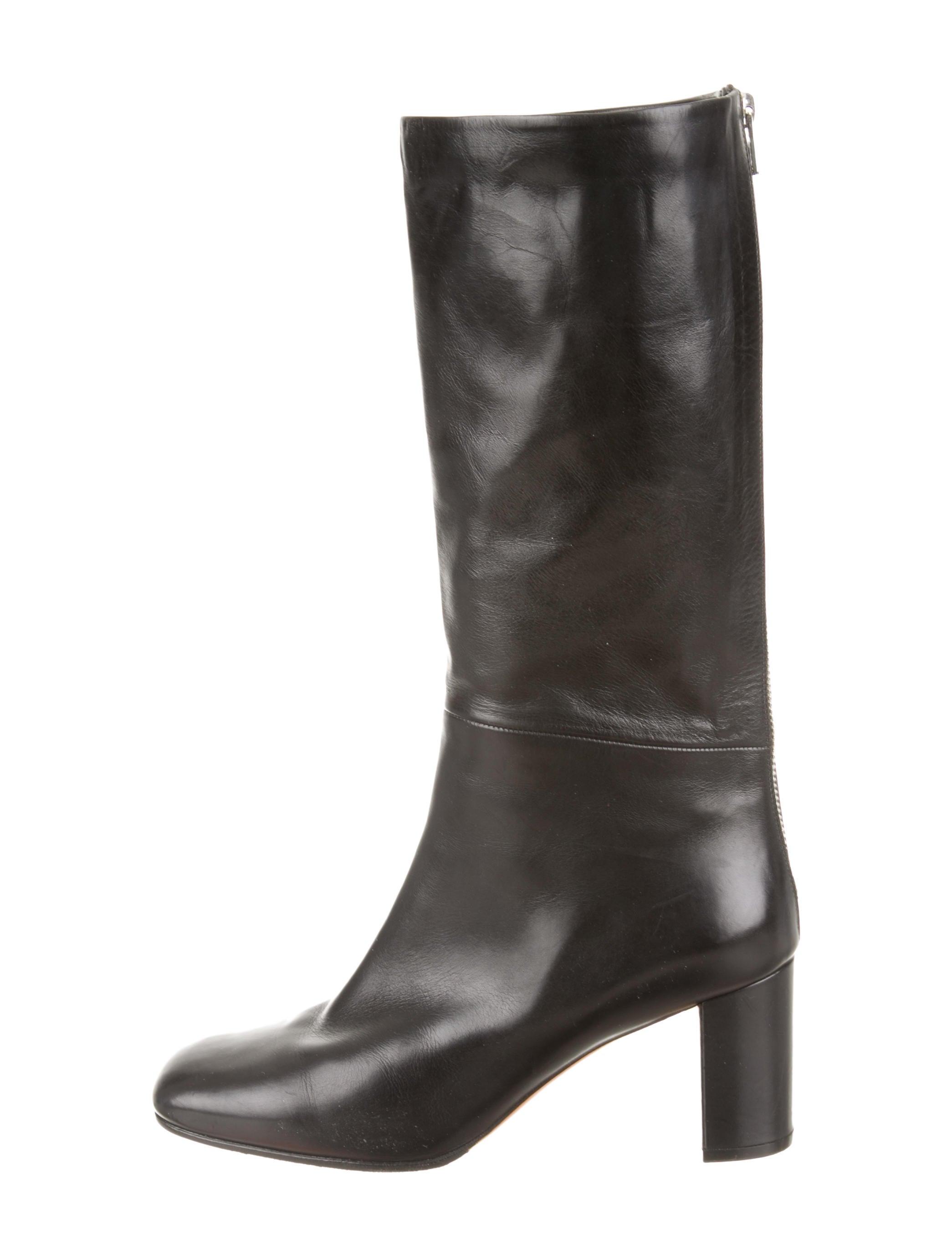 outlet nicekicks Céline Leather Square-Toe Boots sneakernews online LjAufxjwk
