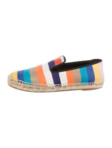 Striped Canvas Espadrille Flats
