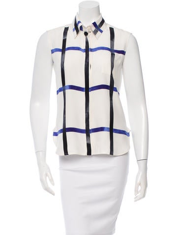 Céline Silk Sleeveless Button-Up Top None