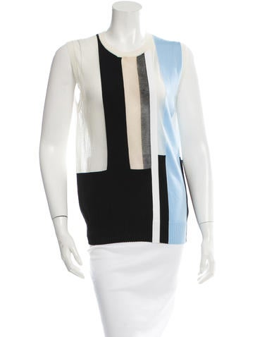 Céline Sleeveless Stripes Top None