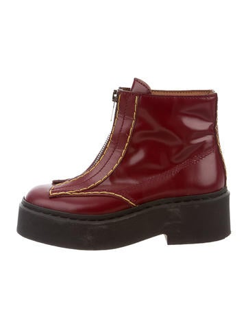 Flatform Zip-Up Ankle Boots