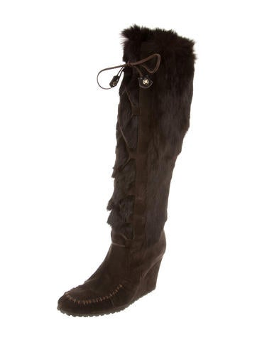 c 233 line knee high fur boots shoes cel39782 the realreal